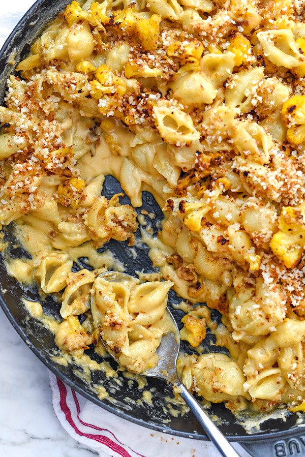 cauliflower mac and cheese in a skillet