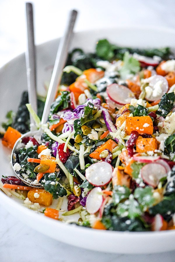 Chopped Mexican Kale Salad | #healthy #butternutsquash #recipes #dinners foodiecrush.com