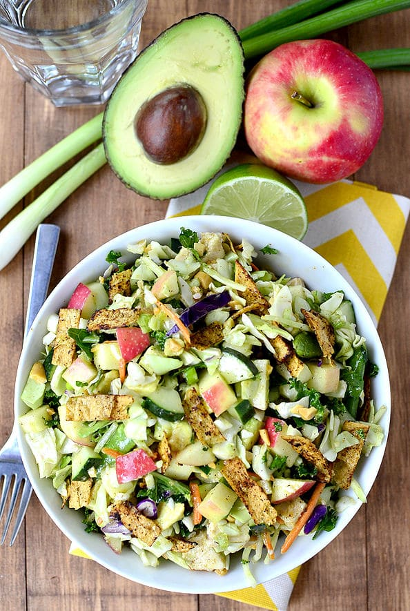 Crunch Lover's Chopped Chicken Salad with Chili-Lime Vinaigrette from Iowa Girl Eats on foodiecrush.com