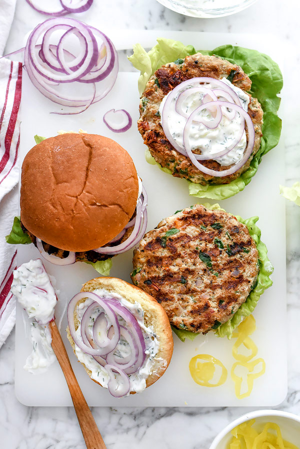 Greek Turkey Burgers with Tzatziki Sauce | #onthegrill #healthy #easy #juicy #greek #seasoning foodiecrush.com