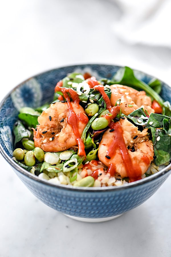 Sesame Shrimp with Asian Greens Rice Bowls | foodiecrush.com