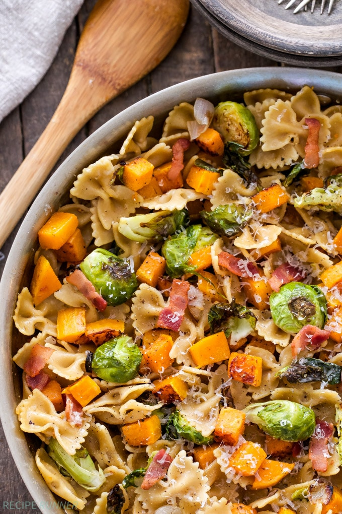 Bacon, Brussels Sprouts Butternut Squash Pasta from reciperunner.com on foodiecrush.com