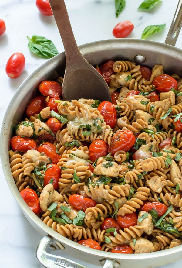 Caprese Chicken Pasta from wellplated.com on foodiecrush.com