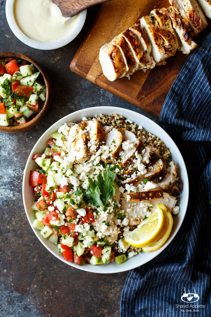 Mediterranean Chicken Quinoa Bowl from sharedappetite.com on foodiecrush.com