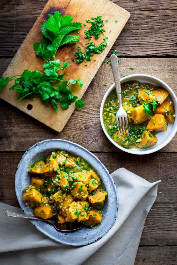 Saucy Sweet Potatoes with Coconut Curry and Mint by Healthy Seasonal Recipes on foodiecrush.com