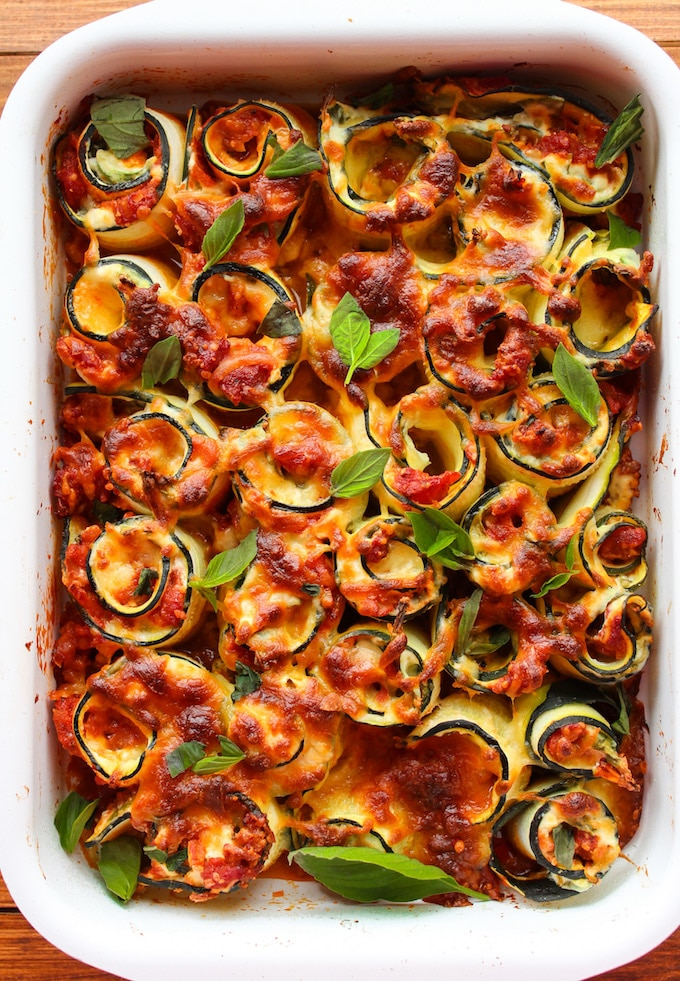Vegetarian Zucchini Lasagna Spirals from asaucykitchen.com on foodiecrush.com