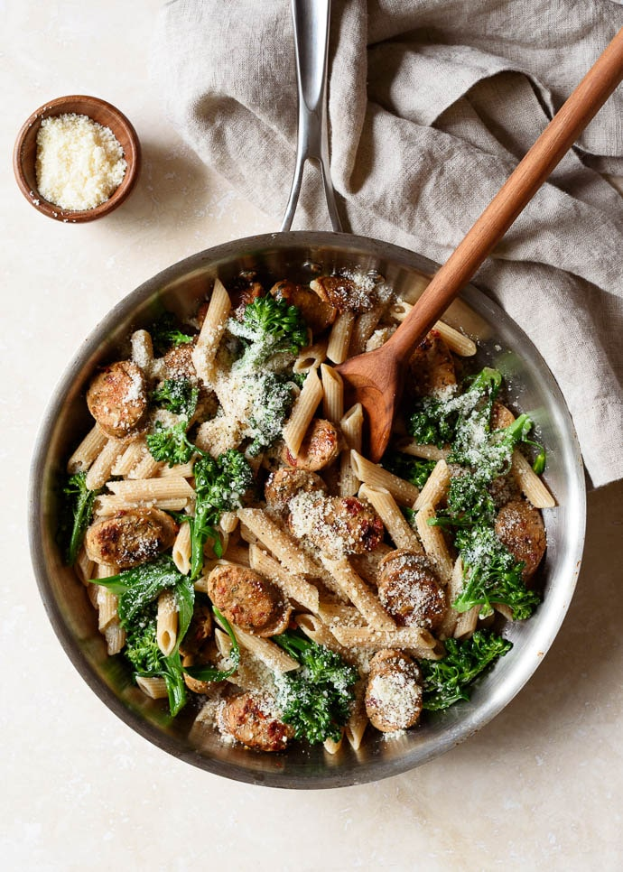 Whole Grain Pasta with Broccoli and Chicken Sausage from forkknifeswoon.com on foodiecrush.com