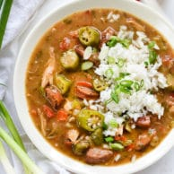 Chicken, Crab and Andouille Gumbo Recipe | foodiecrush.com