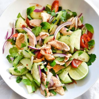 Thai Chicken and Cucumber Salad is lightened up with almond milk in place of coconut milk | foodiecrush.com