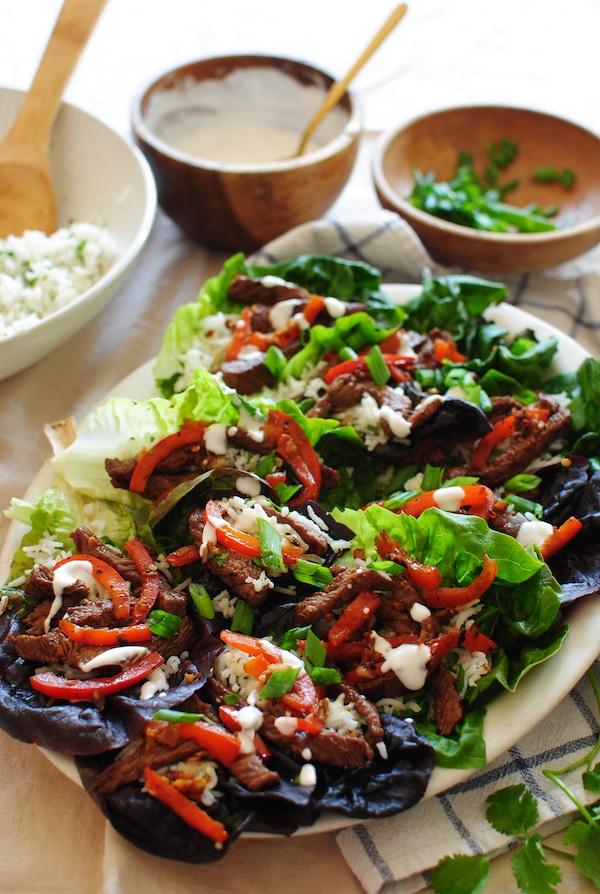 Asian Steak Lettuce Wraps from bevcooks.com on foodiecrush.com