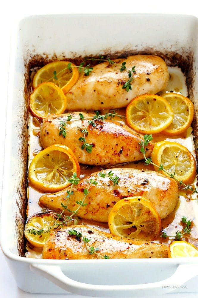 Baked Lemon Chicken from gimmesomeoven.com on foodiecrush.com