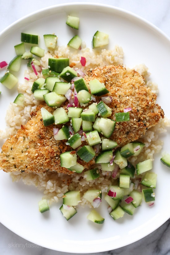 Crispy Togarashi Chicken with Sesame Cucumber Relish from skinnytaste.com on foodiecrush.com