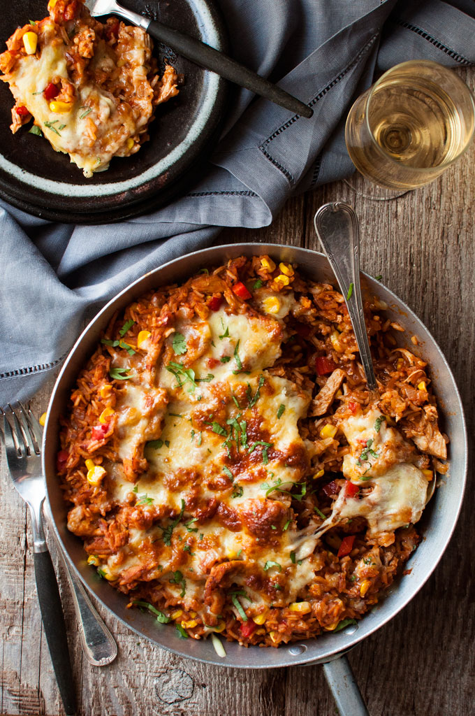 One Pot Chicken Enchilada Rice Casserole from recipetineats.com on foodiecrush.com