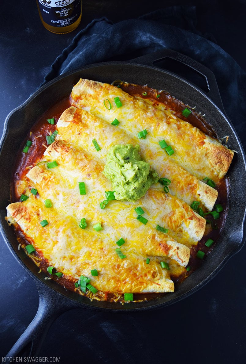 One Skillet Chicken Enchiladas from kitchenswagger.com on foodiecrush.com