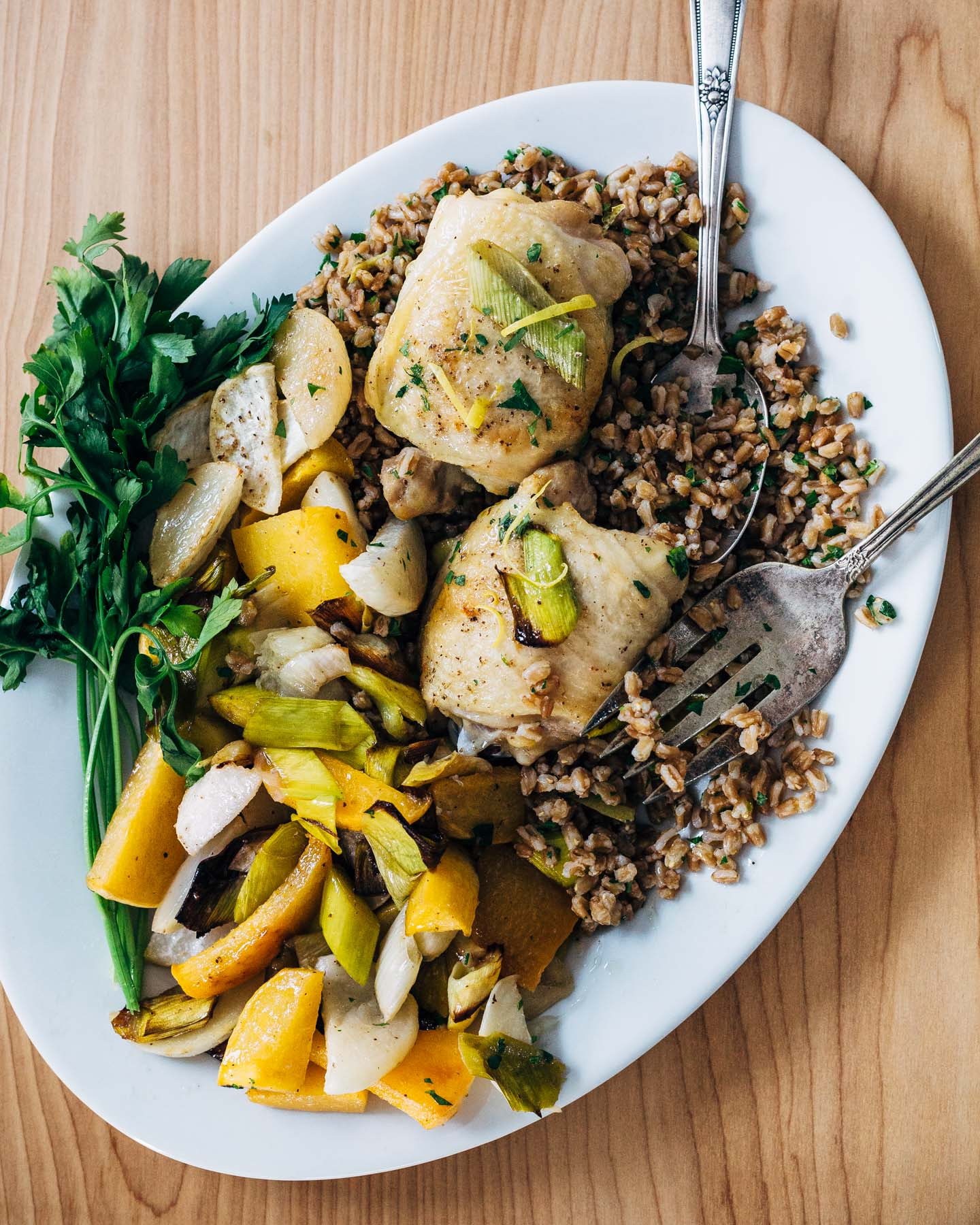 Sheet Pan Roasted Chicken and Vegetables Over Herbed Farro from brooklynsupper.com on foodiecrush.com