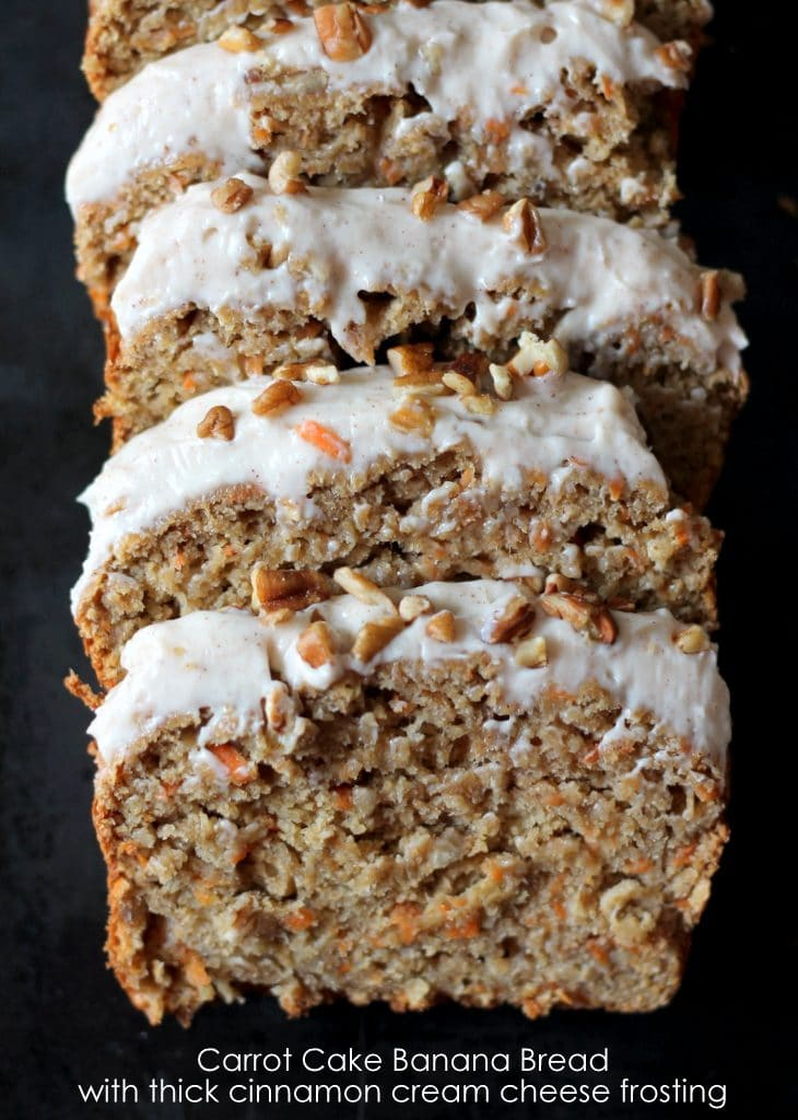 Carrot Cake Banana Bread with Thick Cinnamon Cream Cheese Frosting from Ambitious Kitchen on foodiecrush.com