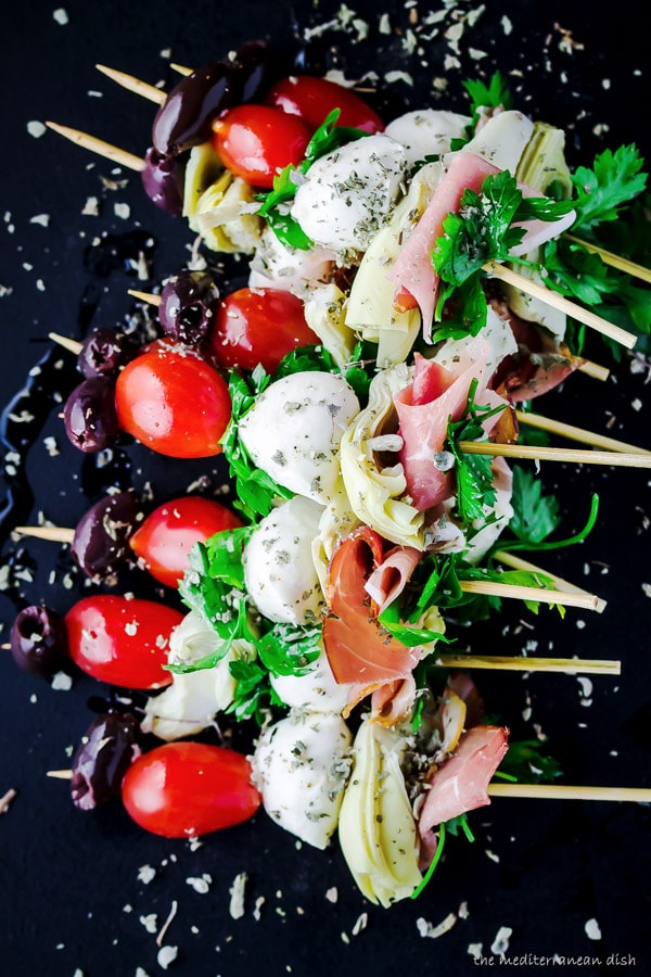 Easy Antipasto Skewers from Mediterranean Dish | foodiecrush.com