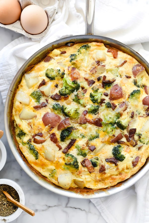 Bacon Broccoli and Potato Frittata foodiecrush.com