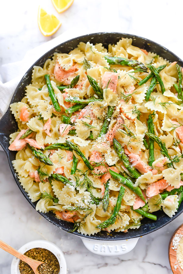 Creamy Bow Tie Pasta With Salmon And Asparagus Foodiecrush Com