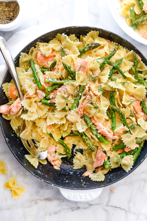 Creamy Bow Tie Pasta with Salmon and Asparagus | foodiecrush.com