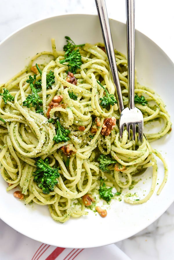 Linguine with Broccolini Pesto | foodiecrush.com
