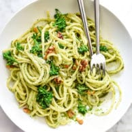 Linguine with Broccolini Pesto | foodiecrush.com