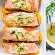 Poached Salmon With Mustard Dill Sauce | foodiecrush.com
