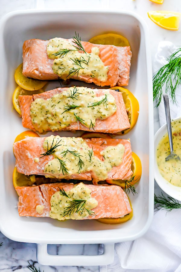 Poached Salmon With Dill Sour Cream Sauce | foodiecrush.com