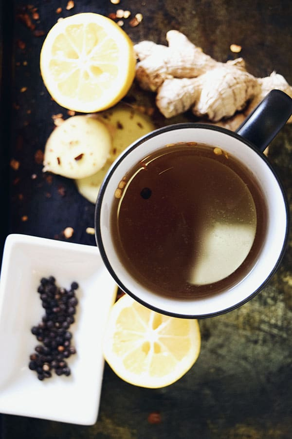 Spicy Lemon-Ginger Tonic Tea from Suitcase Foodist