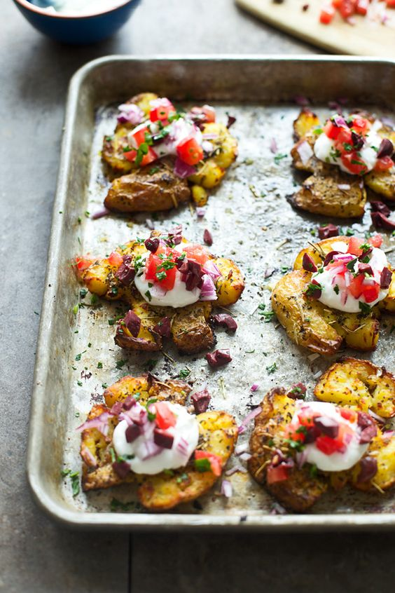 Crispy Greek Smashed Potatoes from cookingforkeeps.com on foodiecrush.com