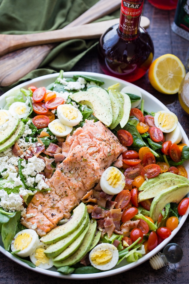 Salmon Cobb Salad with Spinach and Feta from diethood.com on foodiecrush.com