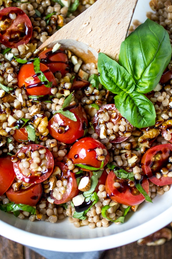 Tomato Basil Israeli Couscous Salad from The Wanderlust Kitchen | foodiecrush.com