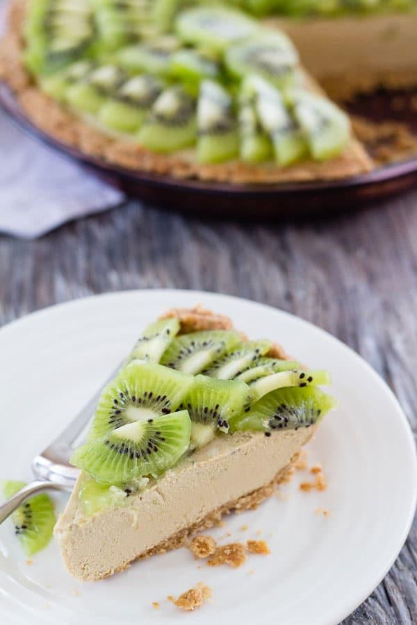 Creamy Vegan Kiwi Lime Avocado Pie from Letty's Kitchen on foodiecrush.com