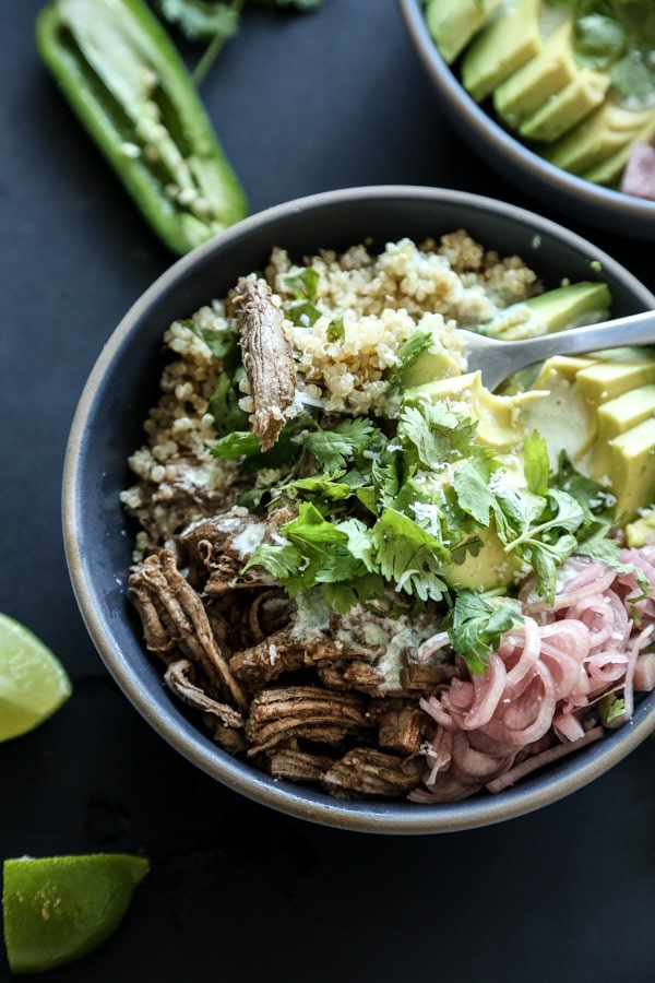 Speedy Five-Spice Pulled Pork Burrito Bowls with Quinoa and Kefir-Jalapeno Crema from Feed Me Phoebe \ fooodiecrush.com
