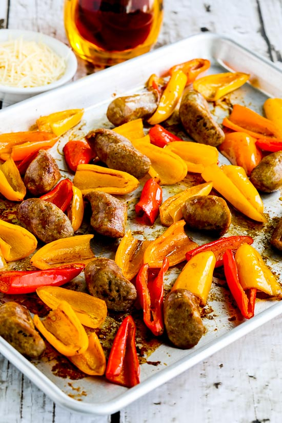 Roasted Onion, Peppers and Sausage Sheet Pan Dinner from Kalyn's Kitchen on foodiecrush.com