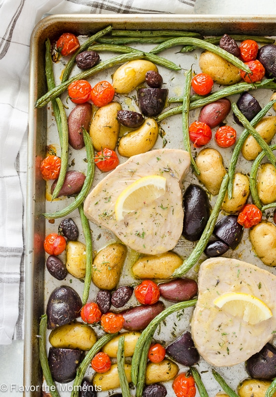 30-Minute Sheet Pan Tuna Nicoise from Flavor the Moments on foodieccrush.com