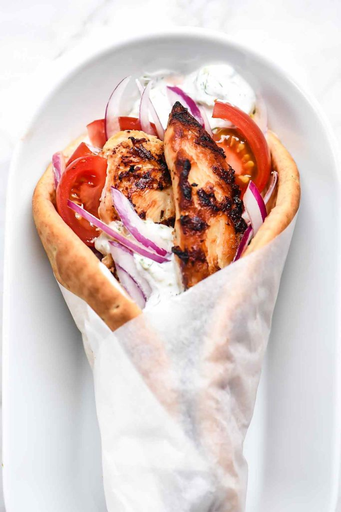 chicken gyro with cucumber dill sauce