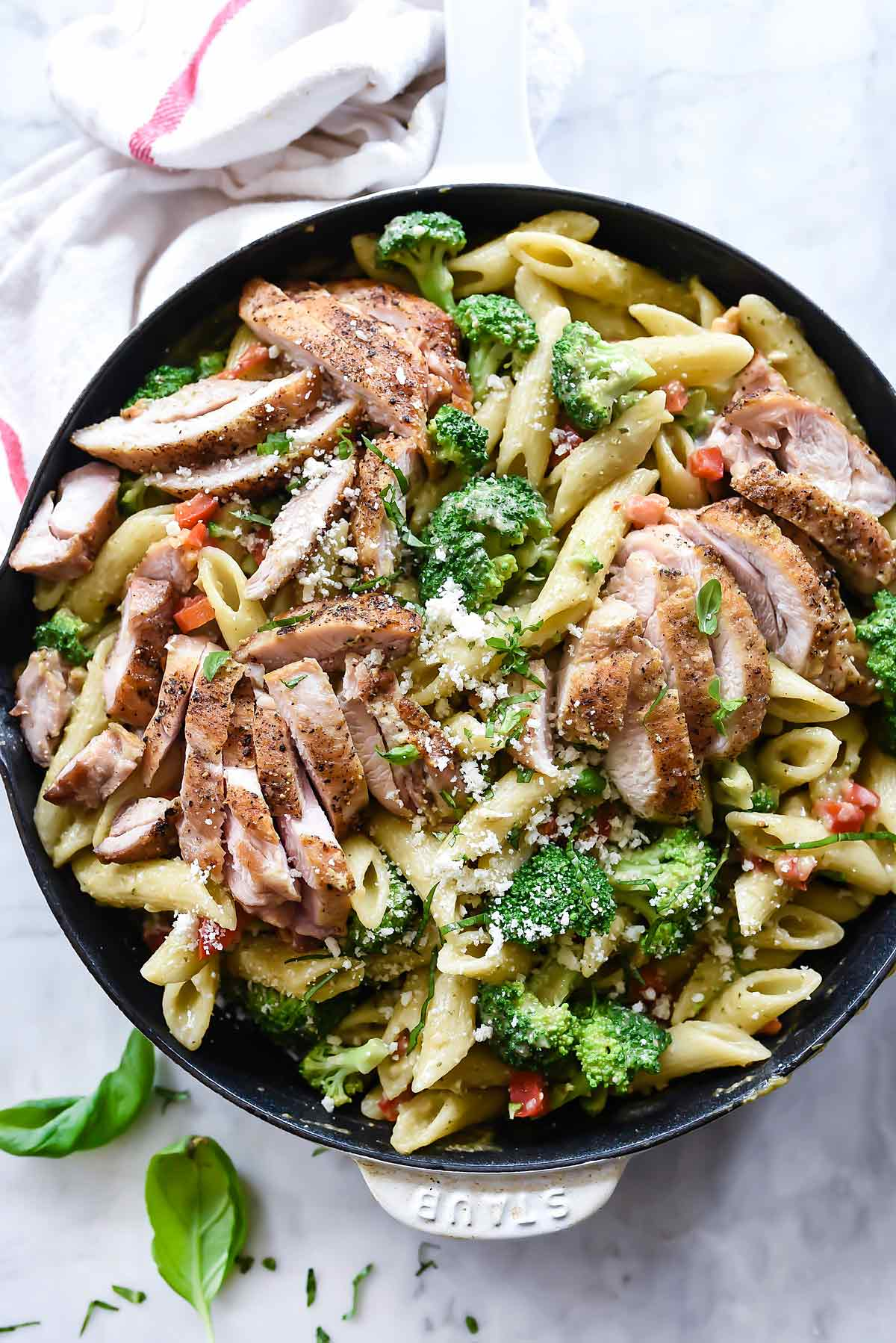 Creamy Chicken Pesto Penne With Broccoli Foo Crush Com