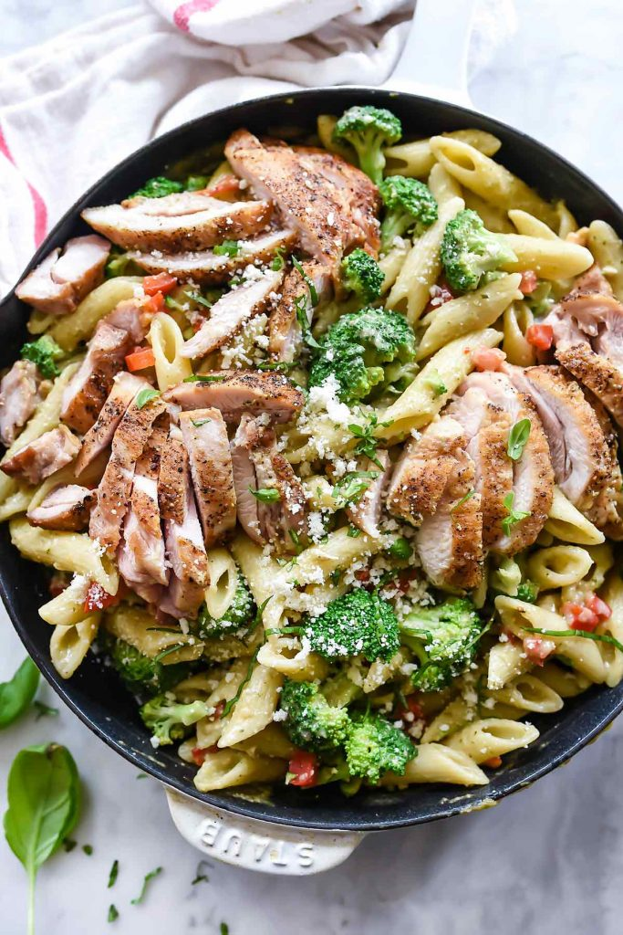 Creamy Chicken Pesto Penne with Broccoli | foodiecrush.com