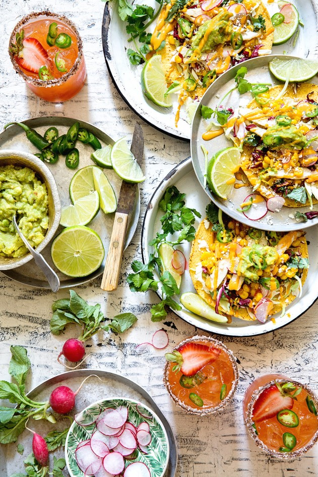 Grilled Chicken and Corn Relish Tostadas from Bakers Royale | foodiecrush.com
