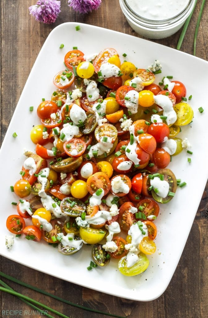 Heirloom Tomato and Blue Cheese Salad from Recipe Runner | foodiecrush.com