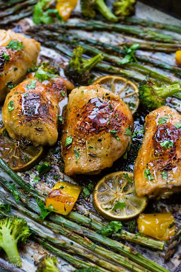 Honey Lime Chicken Sheet Pan with Asparagus and Broccoli from Life Made Sweeter on foodiecrush.com