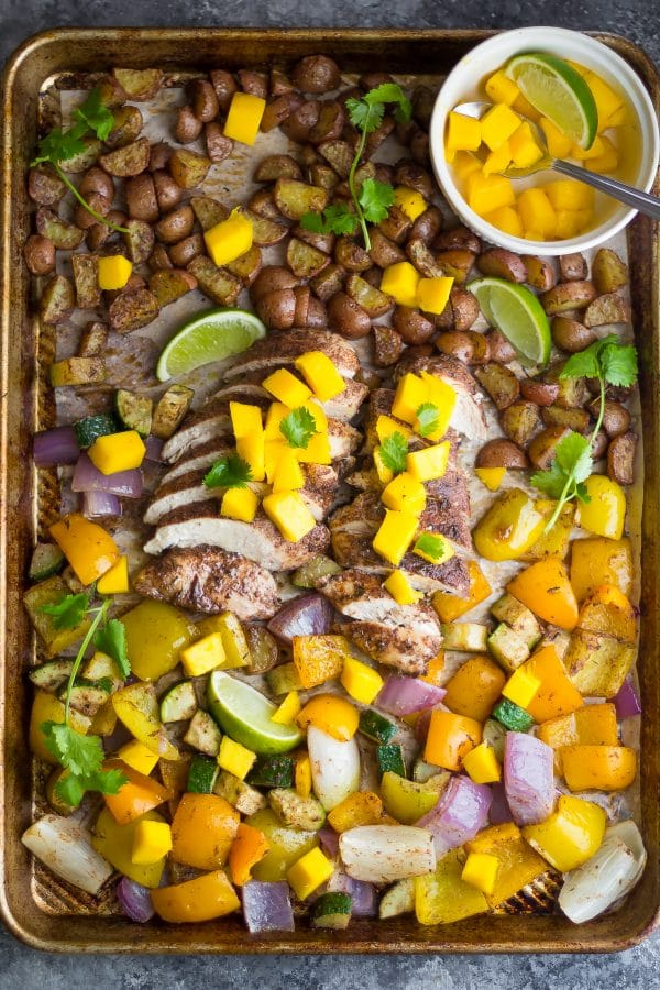 Jamaican Chicken Sheet Pan Dinner from Sweet Peas and Saffron on foodiecrush.com