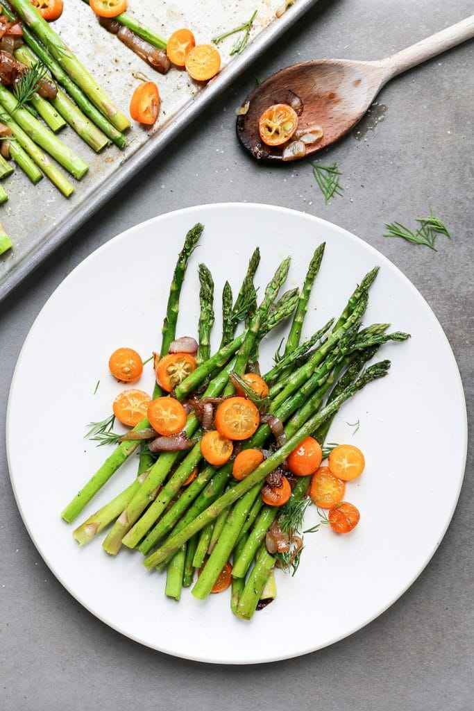 Roasted Asparagus with Sautéed Shallots and Kumquats by Floating Kitchen | foodiecrush.com