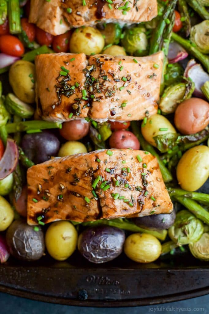 Sheet Pan Honey Balsamic Salmon with Brussels Sprouts from Joyful Healthy Eats | foodiecrush.com