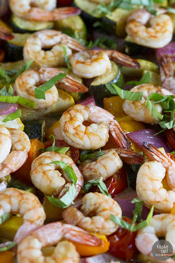 Sheet Pan Balsamic Shrimp and Summer Vegetables from Taste and Tell Blog on foodiecrush.com