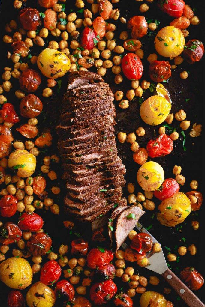 Sheet Pan Mediterranean Roasted Lamb from Running to the Kitchen on foodiecrush.com
