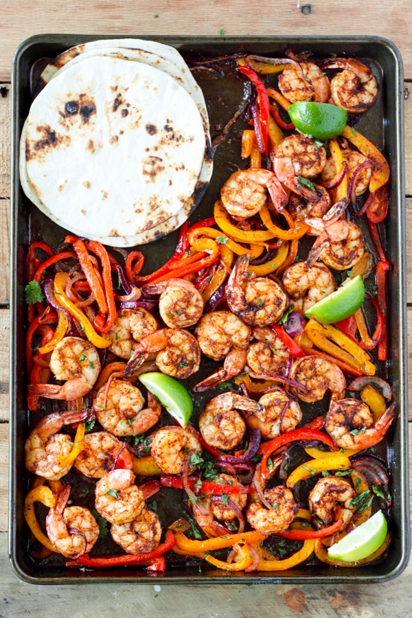One-Sheet Pan Shrimp Fajitas from No. 2 Pencil on foodiecrush.com