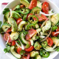 Tomato Avocado Cucumber and Maui Onion Salad | foodiecrush.com