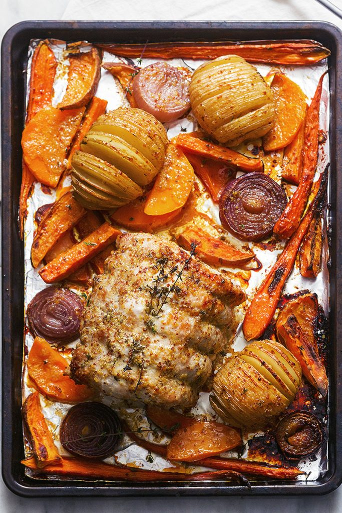 Honey Mustard Roasted Pork Loin and Veggie Sheet Pan Dinner from Eat Well 101 on foodiecrush.com